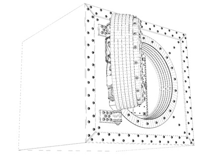 deposit slips: Open bank vault