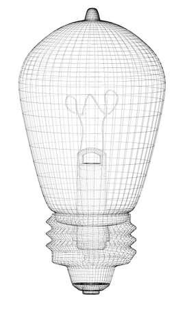 Light retro Bulb, body structure, wire model , photo
