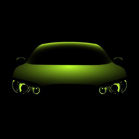 sleeping car: Car 3D model, car silhouette in the dark