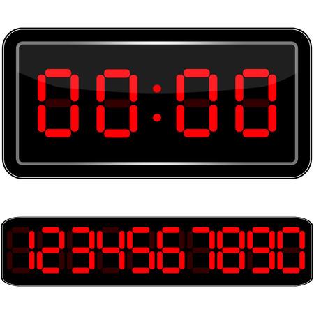 Digitální hodiny. Digital Uhr Nummer. Vektor ilustrace