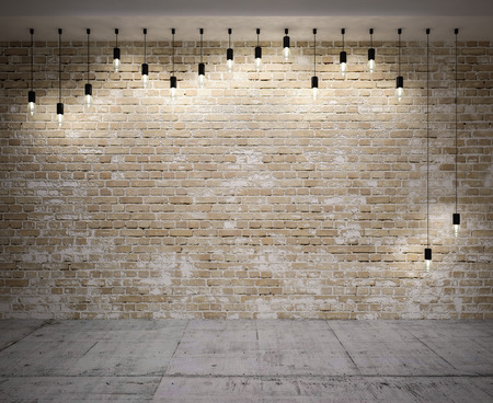 Banner on wall on brick,  with retro lamps photo