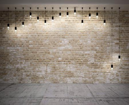 Bannière sur le mur sur la brique, avec des lampes rétro Banque d'images - 38497227