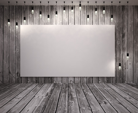 Poster  on wooden wall  with retro lamps photo