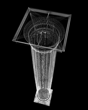 doric: Classic column. Doric order, body structure, wire model. 3D illustration Stock Photo