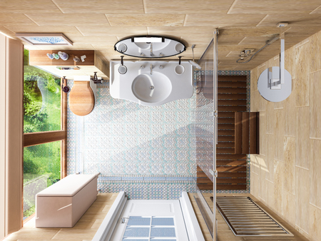 lighting fixtures: model interior of bathroom . 3D illustration . Stock Photo