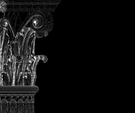 corinthian: Classic column. Corinthian order, body structure, wire model. 3D illustration Stock Photo