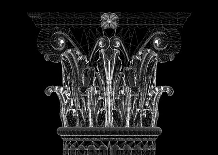 flute structure: Classic column. Corinthian order, body structure, wire model. 3D illustration Stock Photo