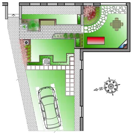 front or back yard: Landscape Architect Drawing. ?lanning of green space on  site Stock Photo