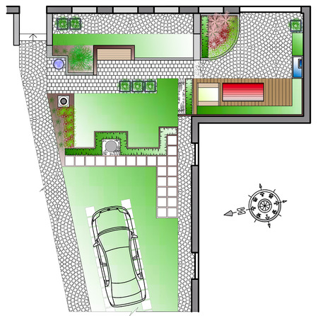 back yard: Landscape Architect Drawing. ?lanning of green space on  site Stock Photo