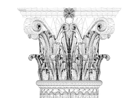 flute structure: Classic column. Corinthian order, body structure, wire model. 3D illustration Stock Photo