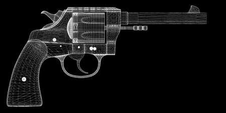 gun, pistol on background,  body structure, wire model photo