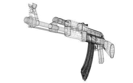 akm: Automatic gun on background, body structure, wire model