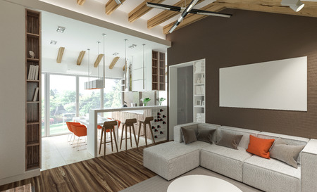 architectural feature: stylish modern interior of the house Stock Photo