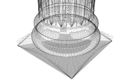 flute structure: Classic column. Ionic order, body structure, wire model. 3D illustration