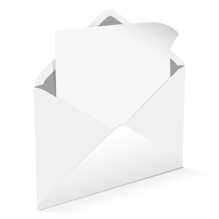 blank note: Envelope with blank note on a white background