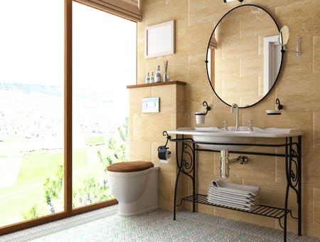piastrelle bagno: interno del modello di bagno. Illustrazione 3D. Archivio Fotografico