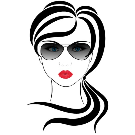 long nose: fashionable girl,  vector illustrations on a white background