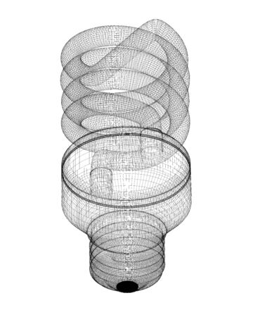 body structure: Energy saving lamp, body structure, wire model ,