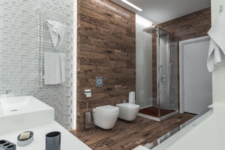 apartment interior: modern design of a bathroom with shower