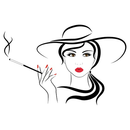 beautiful face: fashionable girl,  vector illustrations on a white background