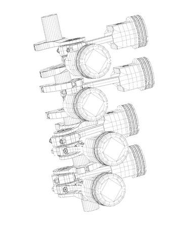 Crankshaft Body Structure Wire Model On Background Stock Photo