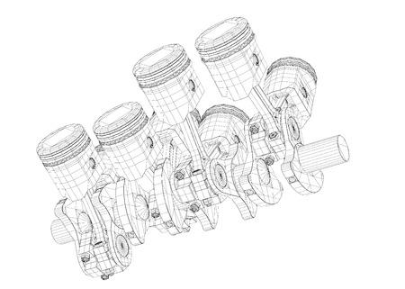 v8: Pistons, V8 engine, body structure, wire model Stock Photo