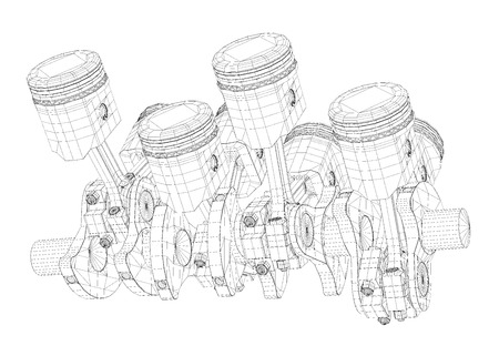 body structure: Pistons, V8 engine, body structure, wire model Stock Photo