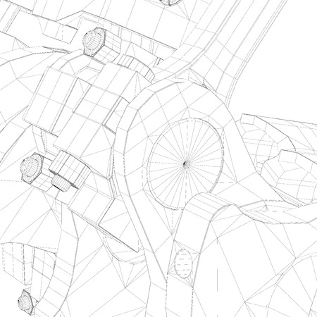 aluminum rod: Pistons, V8 engine, body structure, wire model Stock Photo