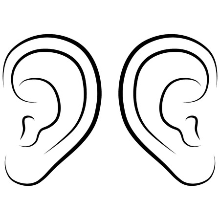 listening ear: Ear, vector illustration on a white background