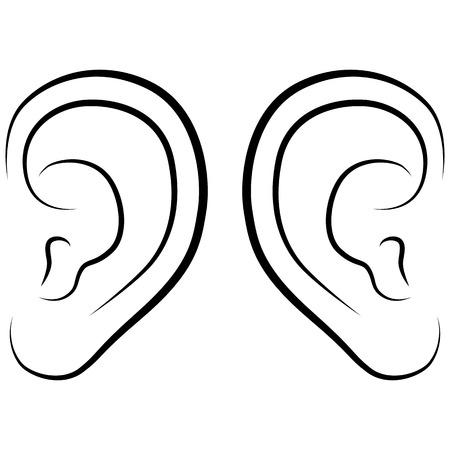 Oreille, illustration vectorielle sur un fond blanc