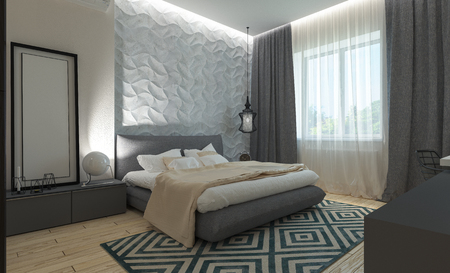 interior lighting: Master bedroom with dressing room 3D panels in a modern style Stock Photo