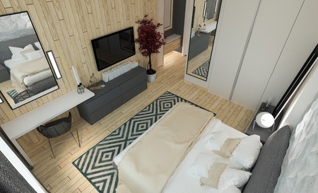 Master bedroom with dressing room 3D panels in a modern style 版權商用圖片