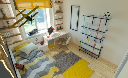 plane table: interior childrens bedroom in modern style .