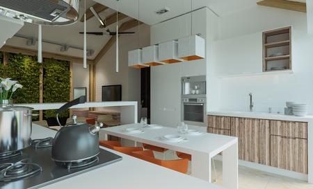 luz natural: sala de estar con cocina y comedor Foto de archivo