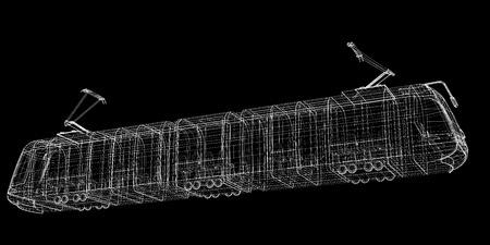 urbanism: tram , body structure , wire model