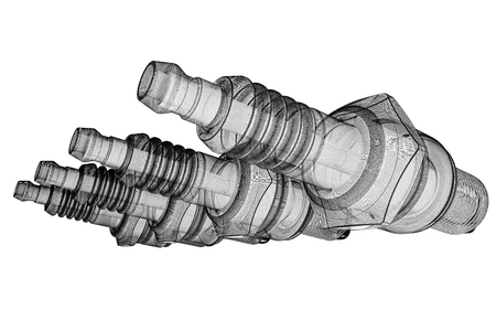 body structure: Sparkplug, body structure, wire model on background