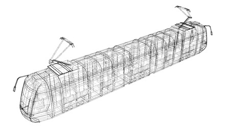 urbanism: tram on background  , body structure , wire model