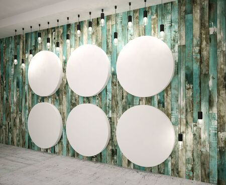 interior decoration: Round Panels on old wooden  wall with lamps, modern interior