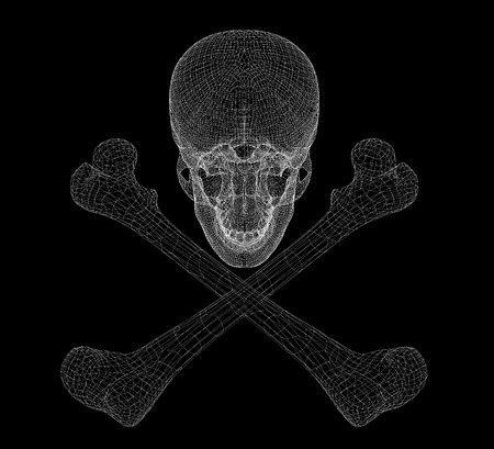 skull and Bones,  Human body,  body structure , wire model Stok Fotoğraf