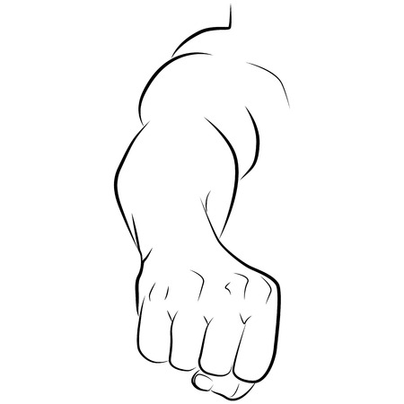 ink sketch: drawing hand of a man isolated on white background, vector