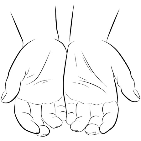drawing hands of a man isolated on white background, vector