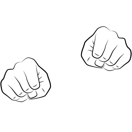 handcarves: drawing hands of a man isolated on white background, vector