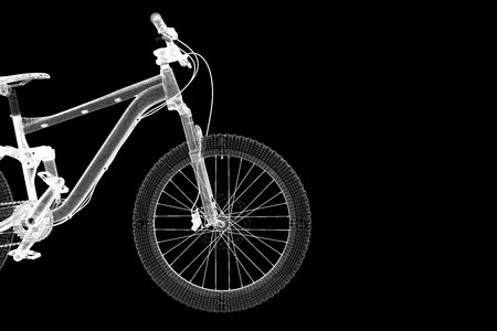 mountain bicycle 3d model body structure wire model stock photo