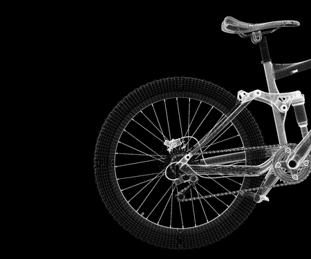 racing bike: Mountain Bicycle 3D model, body structure , wire model