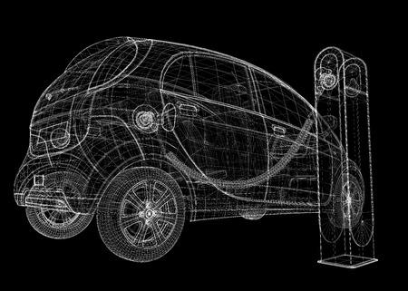 Elektro-Auto, Karosseriestruktur, Drahtmodell auf den Hintergrund