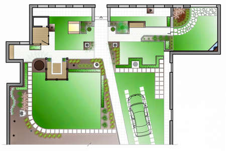 front or back yard: Landscape Architect Drawing. Planning of green space on site
