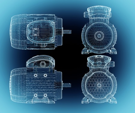 Set of t industrial electric motor ower background