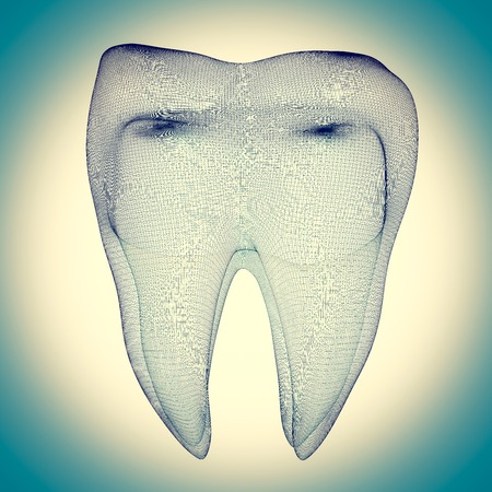 dentures: human tooth wire frame on the background