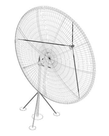 satellite tracking system, satellite dish on the background