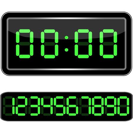 Digital Clock . Digital Uhr Nummer. Vektor illustration Ilustração